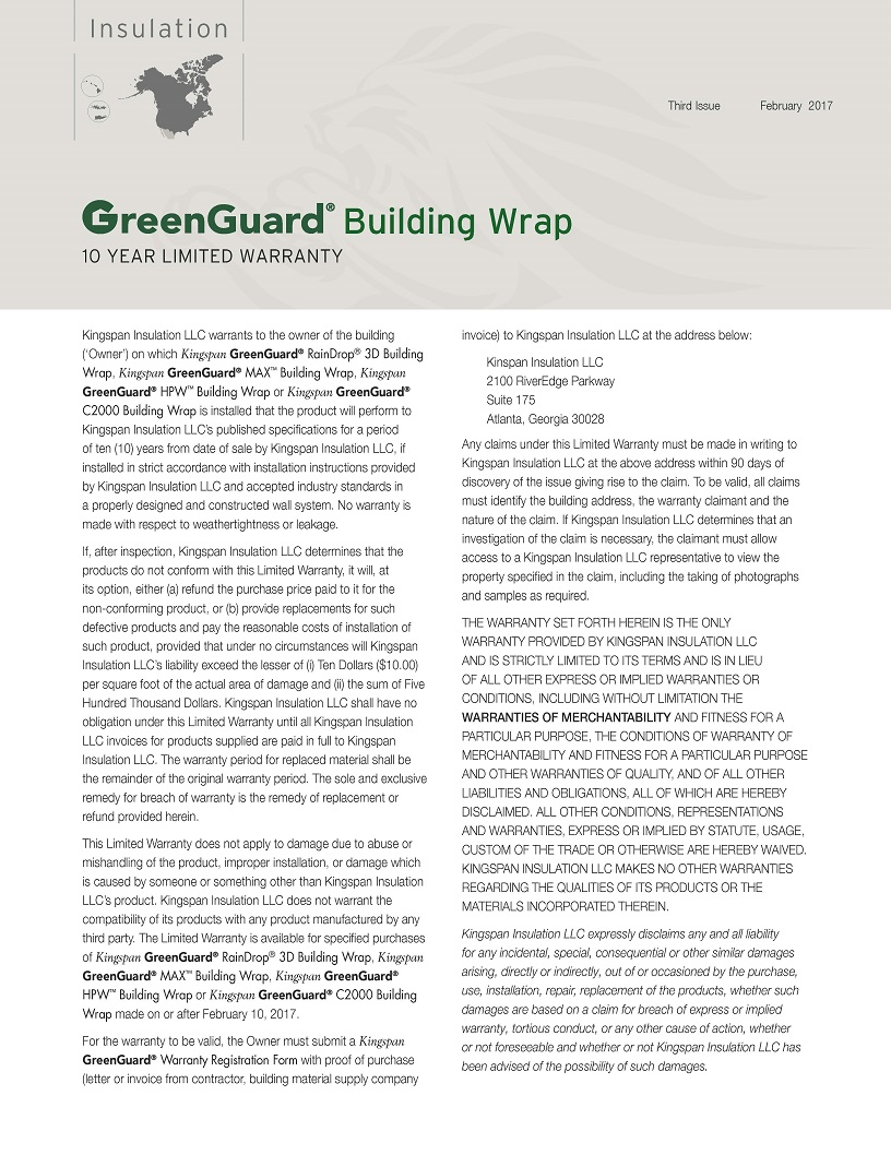GreenGuard Building Wrap_10 Year Limited Warranty_US_CA_IMG