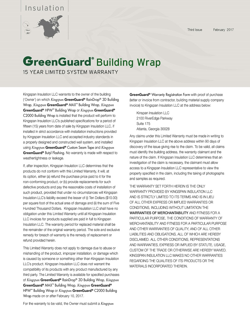 GreenGuard Building Wrap_15 Year Limited Warranty_US_CA_IMG