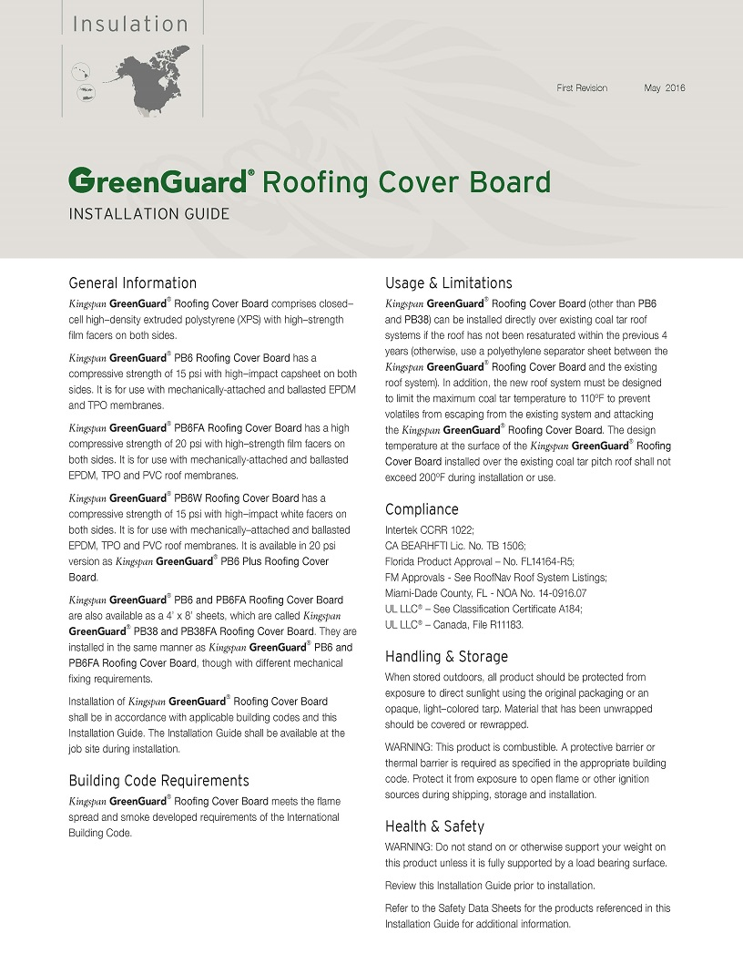 GreenGuard Roofing Cover Board Installation Guide