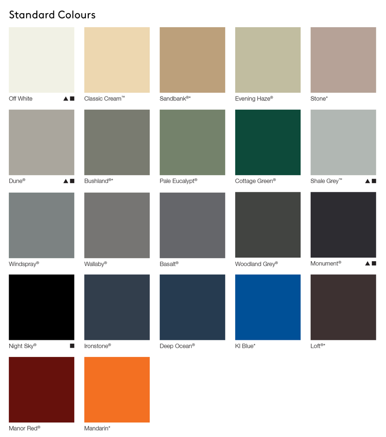 AUS Standard Colours
