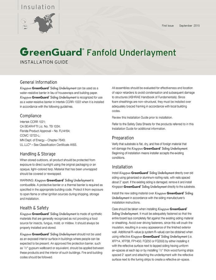 GreenGuard Fanfold Underlayment Standard Installation Guide