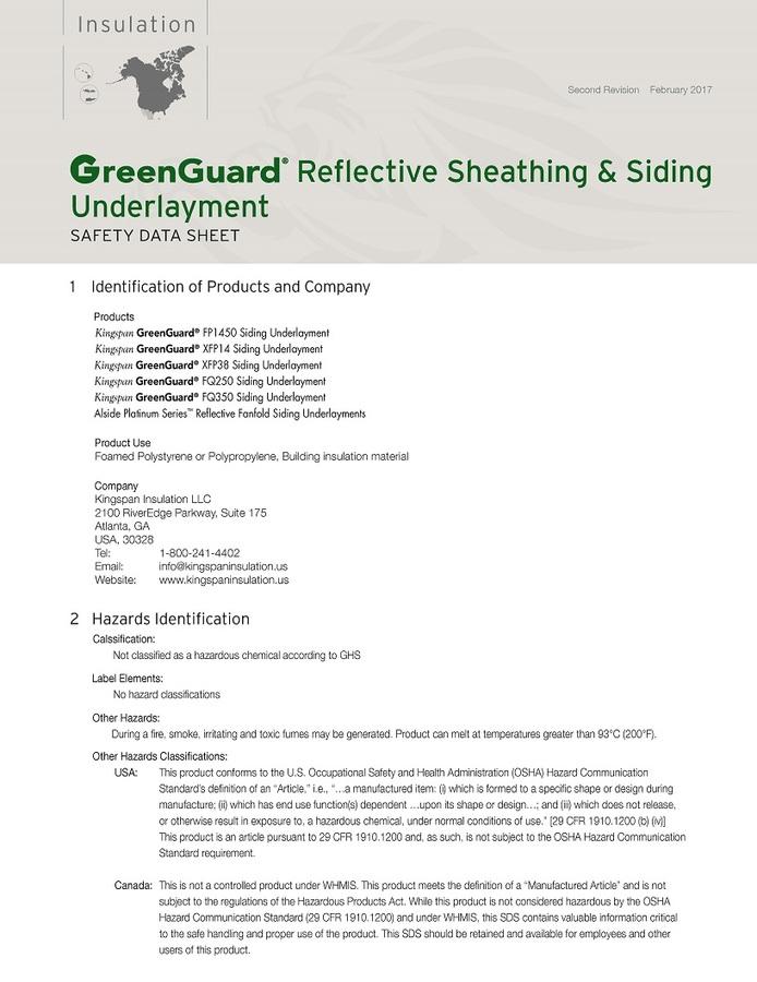 GreenGuard Reflective Sheathing & Siding Underlayment Safety Data Sheet