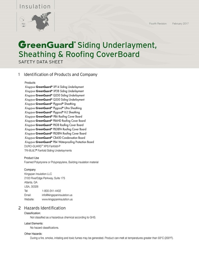 GreenGuard Siding Underlayment, Sheathing & Roofing Cover Board Safety Data Sheet