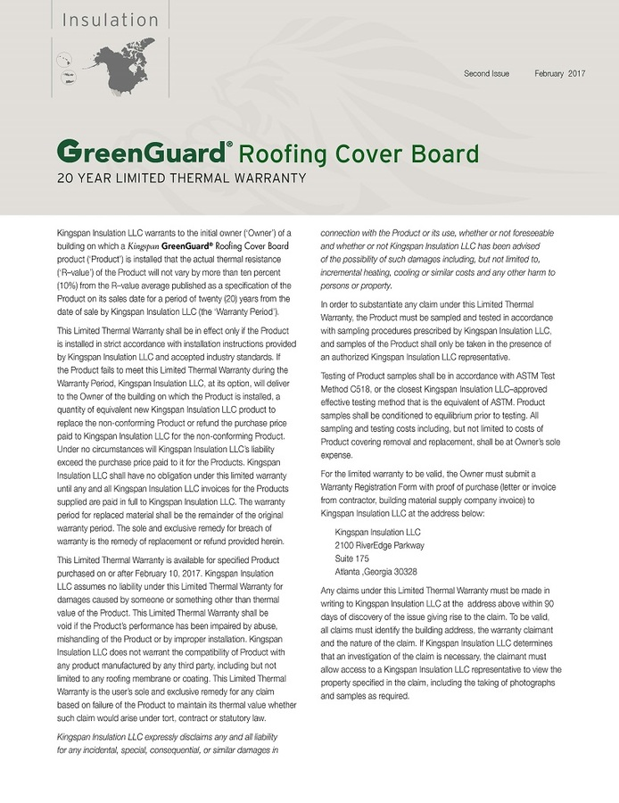 GreenGuard Roofing Cover Board_20 Year Limited Thermal Warranty_US_CA_IMG
