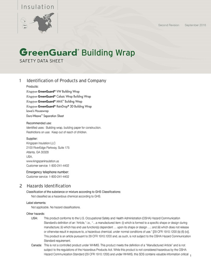GreenGuard Building Wrap_Safety Data Sheet_US_CA_IMG