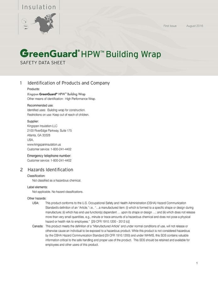 GreenGuard HPW Building Wrap_Safety Data Sheet_US_CA_IMG