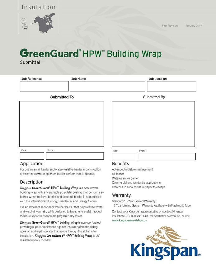 GreenGuard HPW Building Wrap_Submittal Sheet_US_CA_IMG