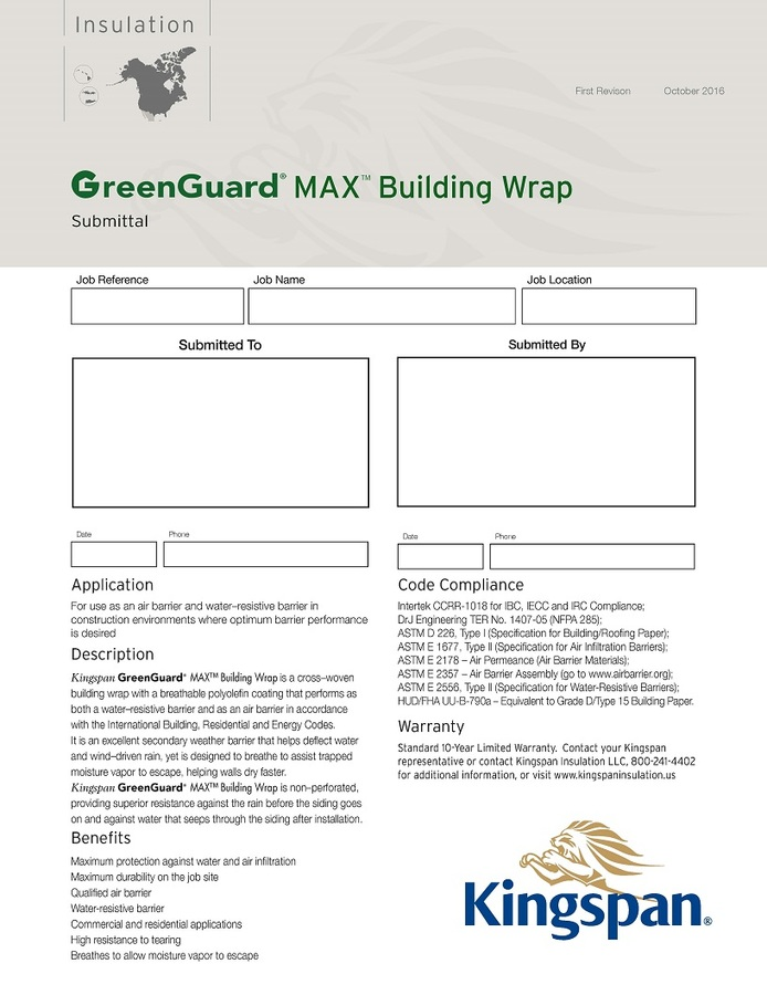 GreenGuard MAX Building Wrap_Submittal Sheet_US_CA_IMG