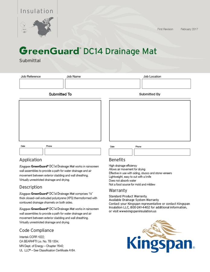 GreenGuard DC14 Drainage Mat Submittal