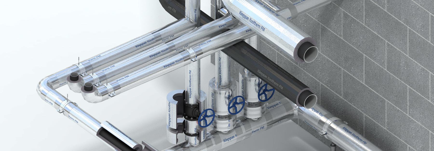 Kingspan Kooltherm, el aislamiento de la tubería de FM se puede utilizar en diversos tipos de tuberías, mangas del fuego y secciones de la ayuda de la tubería