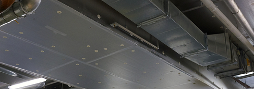 Kooltherm K10 soffit board used in a parking