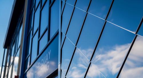Newquay School, Shingle Facade Panel, close up