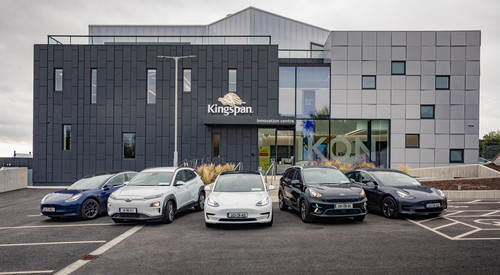 Kingspan EV cars outside the IKON Innovation Centre
