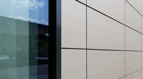 Rainscreen facade, Suspended ventilated facade, Benchmark Kingspan, Benchmark Karrier (Tile)
