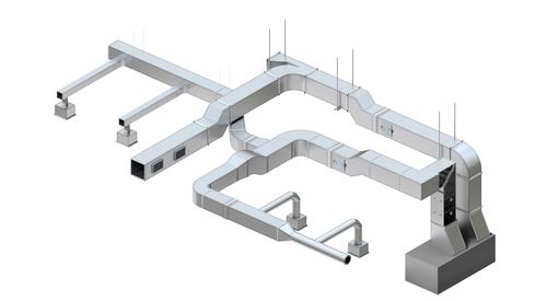 El sistema Kingspan KoolDuct se puede utilizar para todo el sistema de ductos HVAC, incluyendo secciones circulares, áreas con una puerta de acceso y plenos