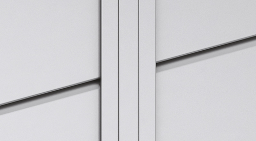 Inline Silver - 20mm vertical joint with omega-shaped, powder-coated alu profile and snap-in alu stripe